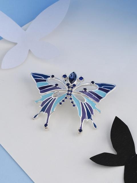 Studip Voylla Women Silver-Toned & Blue Butterfly Shaped Brooch