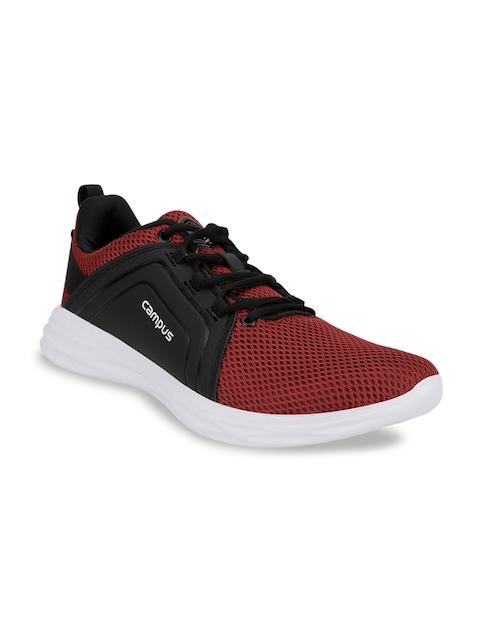 Campus Men Rust Red & Black Mesh Running Shoes