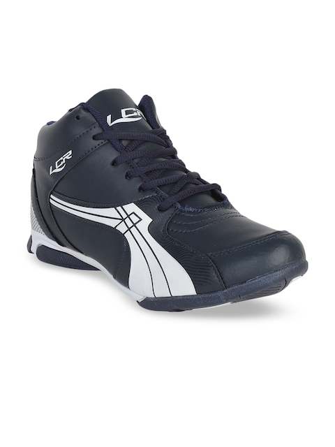 Lancer Men Navy Blue Striped Synthetic Mid-Top Lightweight Sneakers
