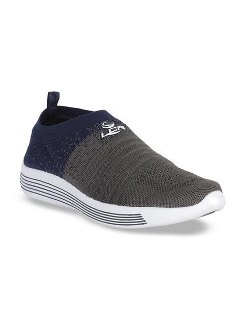 Lancer Men Grey & Navy Blue Colourblocked Slip-On Sneakers