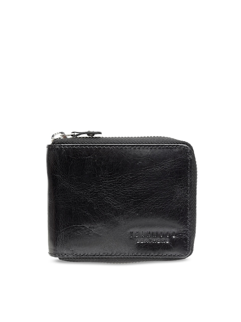 Teakwood Leathers Men Black Solid Zip Around Wallet