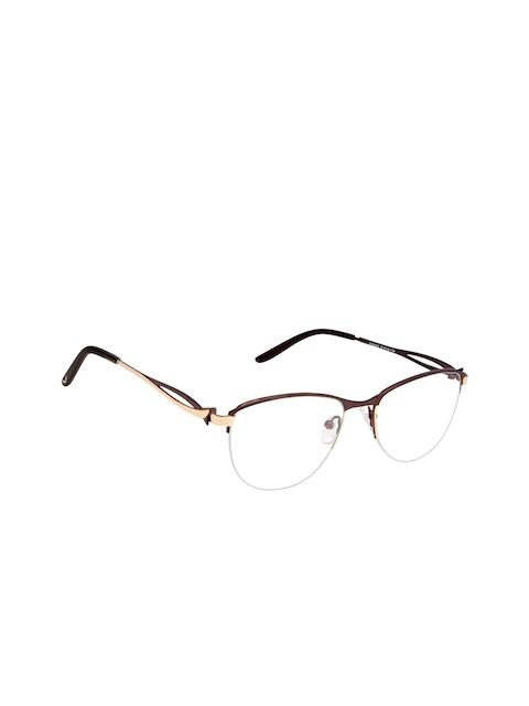Cardon Women Brown Solid Half Rim Oval Frames EWCD2048MGM8003BRN