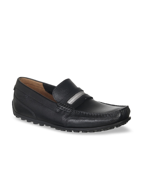 Clarks Men Black Solid Leather Loafers