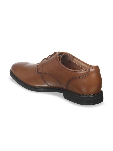 Clarks Men Tan Brown Leather Formal Oxfords