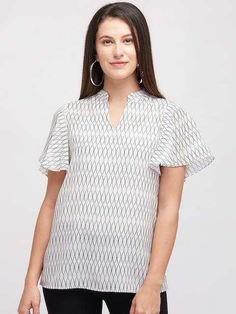 109F Women Beige Printed Flared Sleeves Top