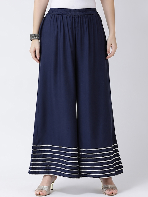 Castle Women Navy Blue Wide Leg Solid Palazzos