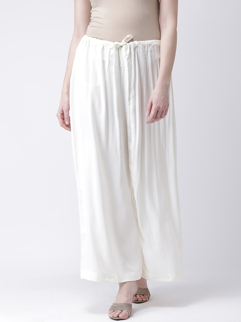Castle Women Off-White Solid Flared Palazzos