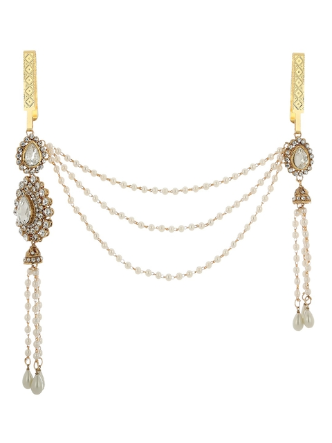 PRITA Women Gold-Plated & Off-White Kundan-Studded Pearl-Beaded Saree Clip