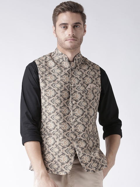 Hangup Men Beige & Grey Printed Nehru Jacket