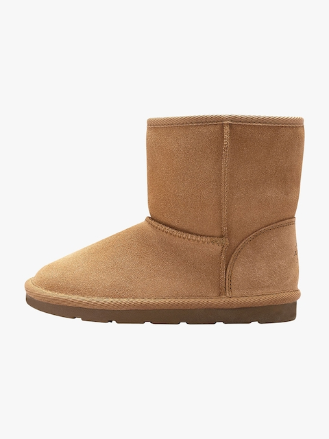 next Girls Tan Solid Synthetic Mid-Top Flat Boots
