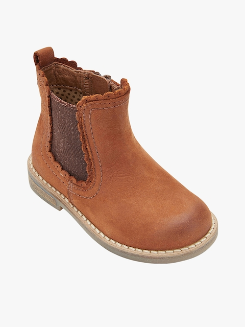 next Girls Brown Mid-Top Chelsea Boots