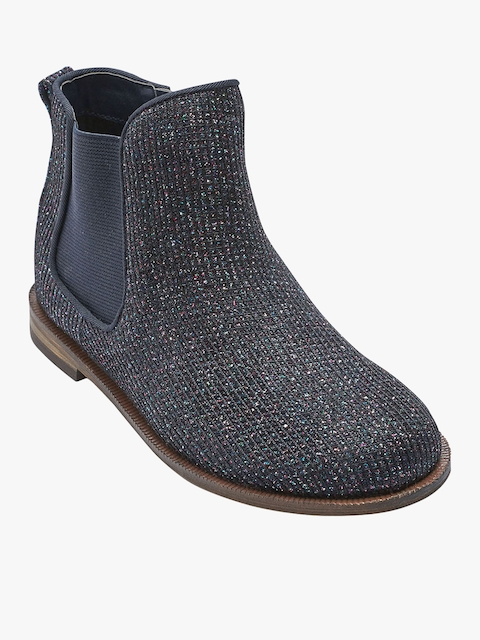 next Girls Navy Blue Embellished High-Top Flat Boots