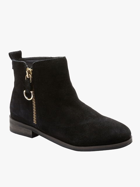 next Girls Black Solid Suede Mid-Top Flat Boots