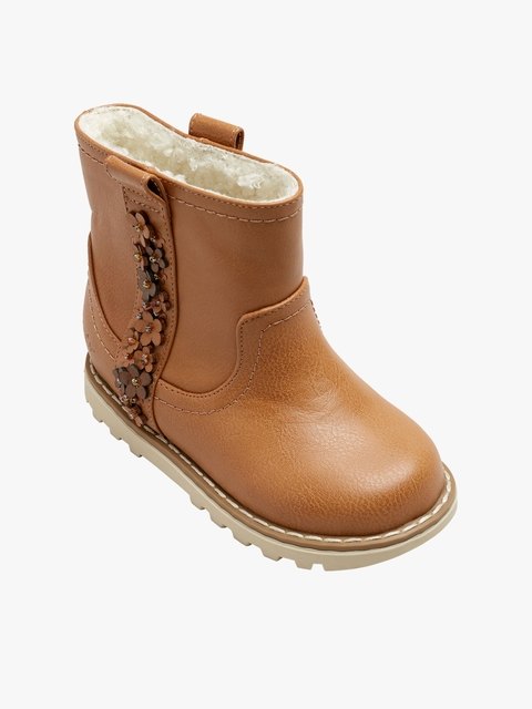 next Girls Tan Brown Mid-Top Flat Boots