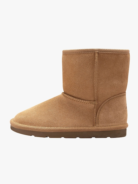 next Girls Tan Brown Leather Mid-Top Flat Boots