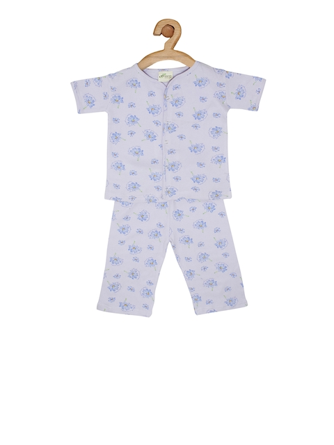 earth conscious Kids Lavender Printed T-shirt with Pyjamas