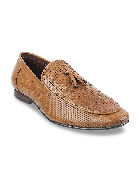 Metro Men Tan Brown Leather Formal Slip-Ons