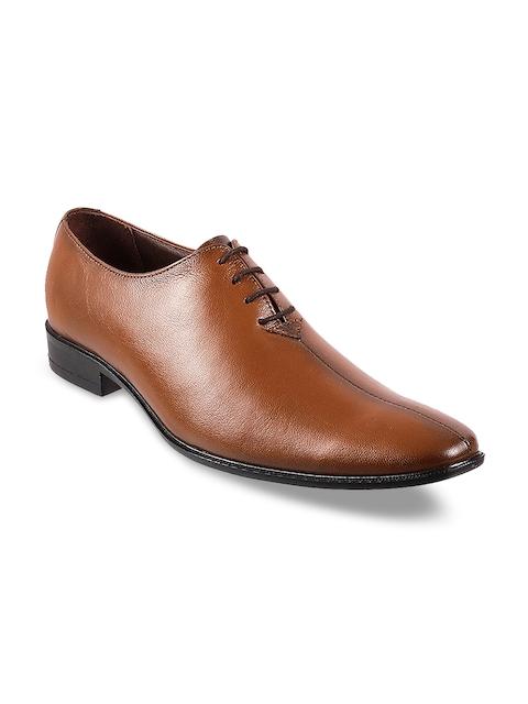 Metro Men Tan Brown Leather Formal Oxfords