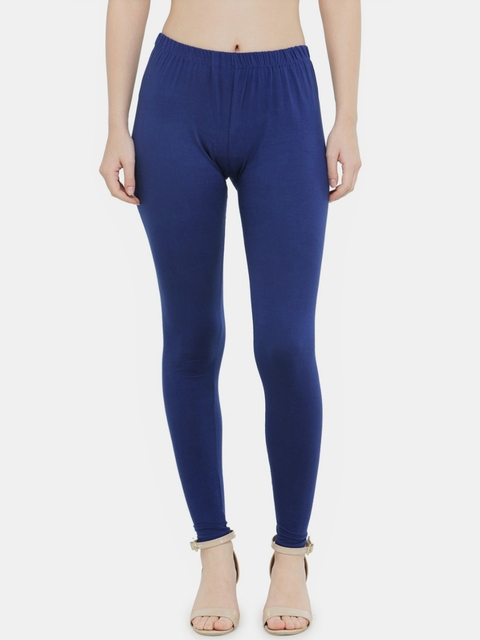 N-Gal Women Blue Solid Ankle Length Leggings