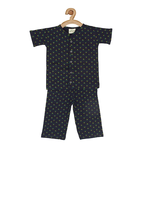 earth conscious Kids Navy Blue Printed T-shirt with Pyjamas