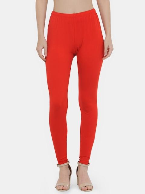N-Gal Women Red Solid Ankle Length Leggings