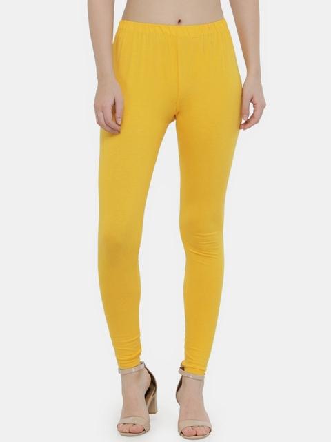 N-Gal Women Yellow Solid Ankle Length Leggings
