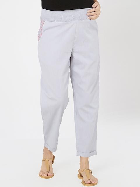 Mystere Paris Women Grey Solid Maternity Lounge Pants