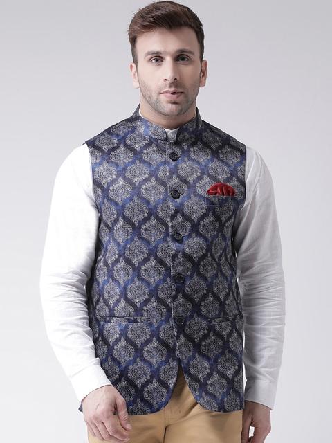 Hangup Men Blue Printed Nehru Jacket