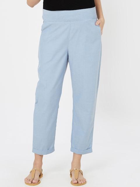 Mystere Paris Women Blue Solid Maternity Lounge Pants