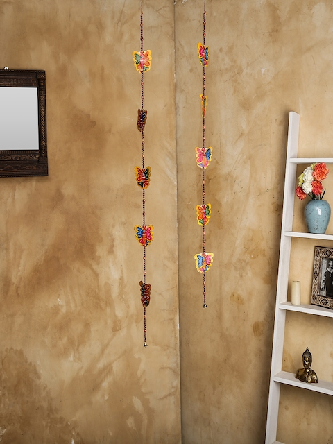 Unravel India Set of 2 Multicoloured Leather Puppetry Butterfly Door Hanging