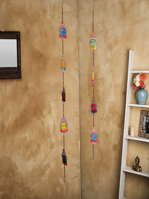 Unravel India Set of 2 Multicoloured Leather Puppetry Door Hanging