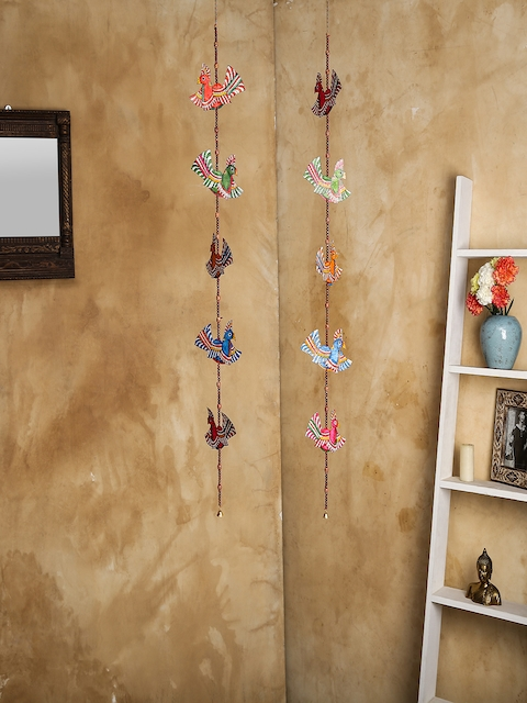 Unravel India Set of 2 Multicoloured Leather Puppetry Peacock Door Hanging