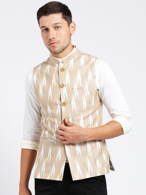 KISAH Men Beige Printed Nehru Jacket