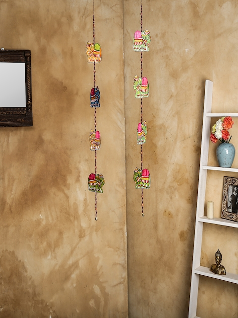 Unravel India Set of 2 Multicoloured Leather Puppetry Elephant Door Hanging