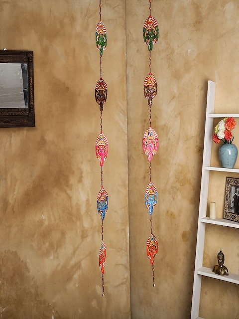 Unravel India Set of 2 Multicoloured Leather Puppetry Ganesh Door Hanging