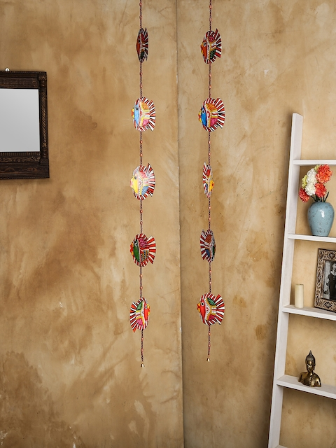 Unravel India Set of 2 Multicoloured Leather Puppetry Fish Door Hanging