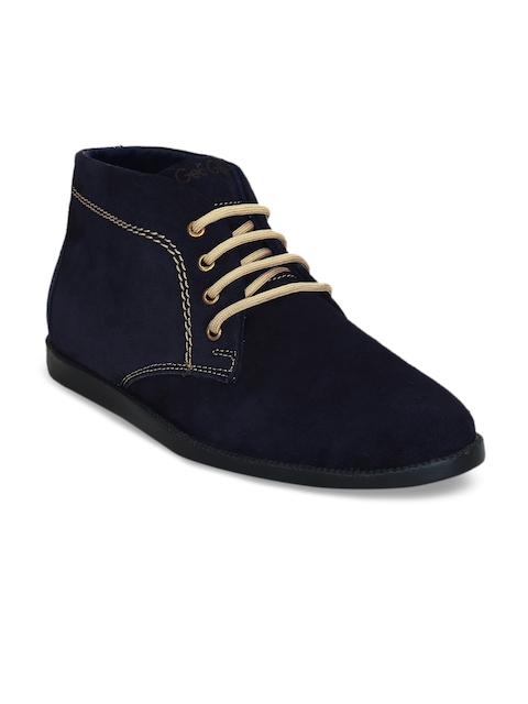 Get Glamr Men Navy Blue Solid Suede Mid-Top Flat Boots