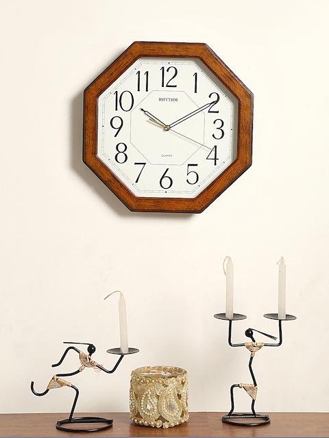 Rhythm Unisex White Handcrafted Geometric Solid Analogue Wall Clock CMG944NR06