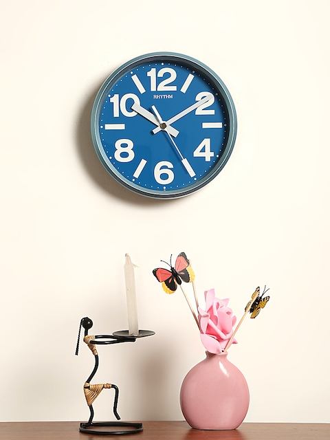 Rhythm Unisex Blue Handcrafted Round Solid Analogue Wall Clock CMG890GR04