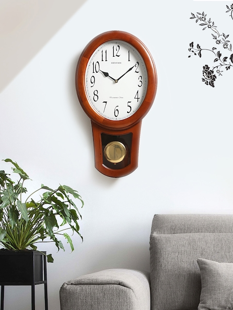 Rhythm Unisex White Handcrafted Oval Solid Analogue Wall Clock CMJ576NR06