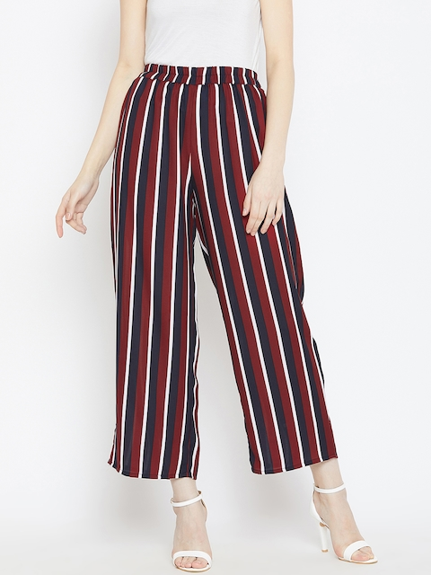Ruhaans Women Maroon & Navy Blue Striped Straight Palazzos