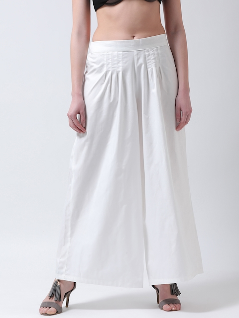 Castle Women Off-White Wide Leg Solid Palazzos