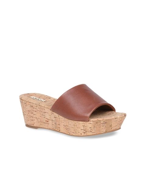 ALDO Women Tan Brown Solid Leather Mules