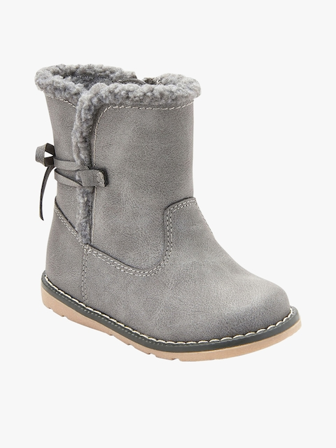 Grey Leather High-Top Flat Boots