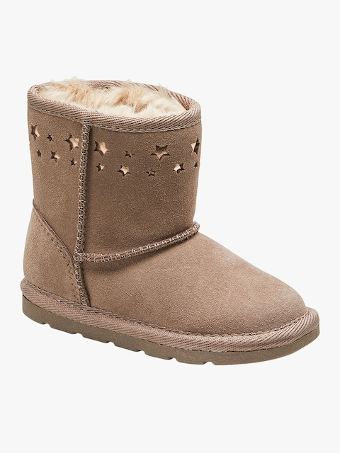Beige Leather Mid-Top Flat Boots