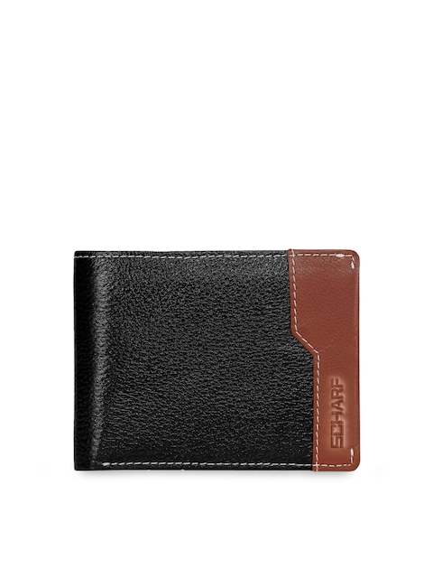 SCHARF Men Black Solid Leather Two Fold Wallet