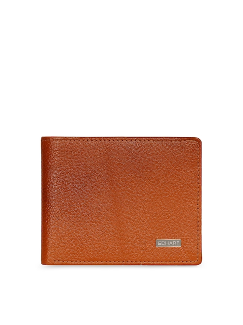 SCHARF Men Tan Solid Two Fold Wallet