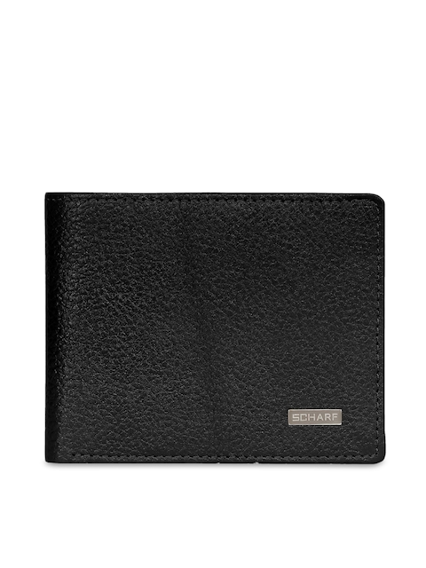 SCHARF Men Black Solid Two Fold Leather Wallet