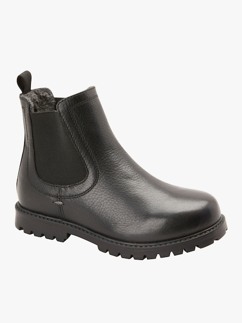 Black Leather Mid-Top Flat Boots