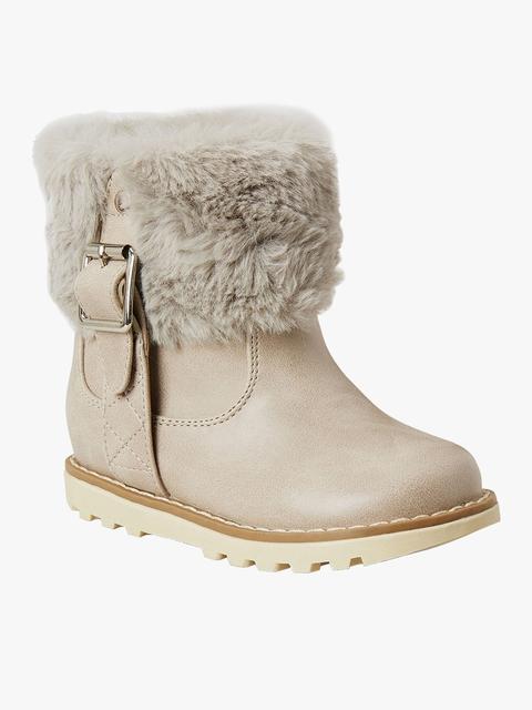 Beige Mid-Top Flat Boots